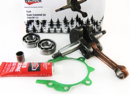 Коленвал для бензокосы (триммера) 43cc (комплект:2 подшипника,прокладка, герметик)