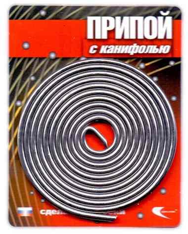 Припой ПОС 61 (трубка, спираль ф2мм, с канифолью, длина 1м (Векта)