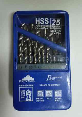 Набор сверл по металлу 25шт HSS Vertex (1.0-13.0 мм)