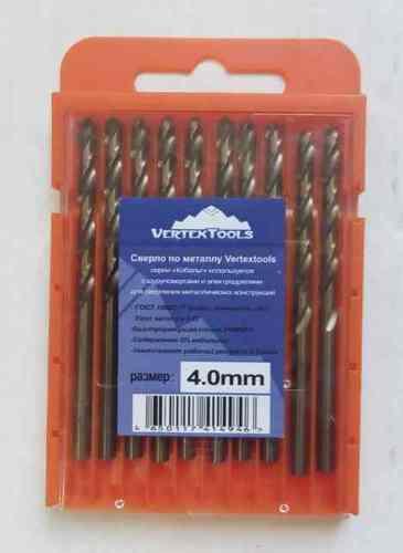 Сверло по металлу 4.0мм Р6М5К5 (Кобальт) Vertex (10шт)
