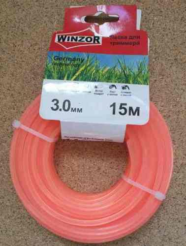 Леска 3,0*15 квадрат с жилой(полупрозрачный с оранжевой жилой) Winzor